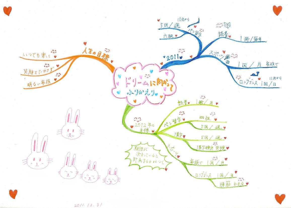 長期計画立案(2012年年間計画)のマインドマップ(素人成人女性)